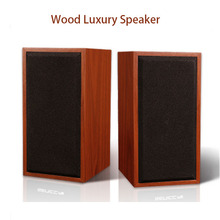 Portable Classical Wood Wired Speakers Music Sound Box Subwoofer Loudspeakers