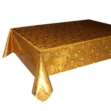Double Side Metallic Table Cloth--Gold gliding PVC Table cloth