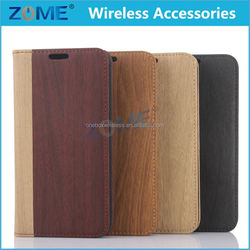 Shenzhen Newest For Galaxy S6 Wood Grain Stand Premium Pu Leather Flip Cell Phone Cases Covers Card Slots