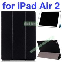 Pure Grid Pattern 3 Folding PU Leather Case for iPad Air 2 with Stand