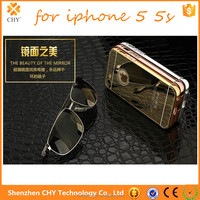 ultra thin aluminum metal bumper mirro plastic hard case back cover for iphone 5 5s