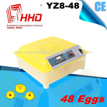CE aprobado pequeña incubadora de huevos automático / huevo para incubar YZ8-48 máquina para la venta