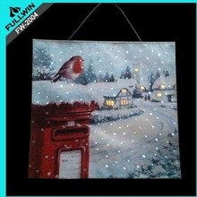 fabric christmas led flashing wall tapestry with postbox design