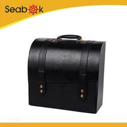 4 bottle stock Pu leather cover wood wine box wholesale