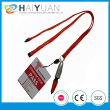 tubular polyester lanyard with card holder and pen
