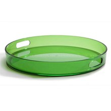 Clear Green Acrylic Serving Tray, Lucite Round Tray with Handle, Hotel Desktop Plastic Storage Tray