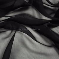 polyester korean black dubai chiffon fabric for abaya and party dress