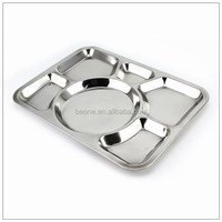 stainless steel metal military mess hall prison divided food tray