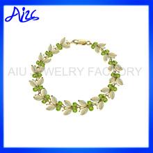 18K Gold Girls Latest Bangle Bracelet in Green Olive