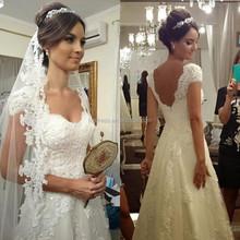 2015 Vintage Vestido de Noiva White Lace Sweetheart Short Sleeve Lace up Applique Beaded Women Elegant A-Line Wedding Dresses