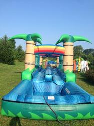 "Tropical run ""N"" splash slide/ Green slide inflatable"