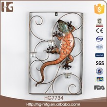 40x5x61 cm Gecko molding animal wrought iron metal garden 3D wall art decoration with Led