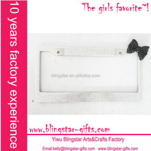 clear bling rhinestone license plate frame with black bow