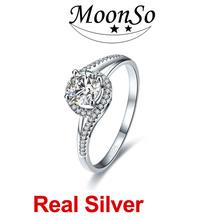 moonso 3 carati anelli di fidanzamento per le donne semplici anelli di fidanzamento in vero argento kr815s