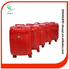 wholesale china traditional red color wedding favor unique carry on leather customized pu luggage