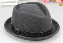 Personalizado curto brim 100% feltro de lã do vintage chapéus fedora atacado