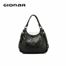 Black color soft leather hobo bag
