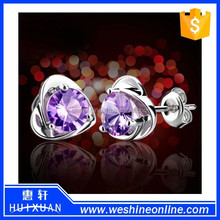 2015 huixuan newest fashion earring Cheap Cute Flower&Heart 925 Sterling Silver Earrings for Girls
