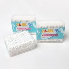 200 Pcs PP Square Box 100% Pure Natural Cotton Plastic Tube Beauty Cotton Buds Ear Cotton Buds