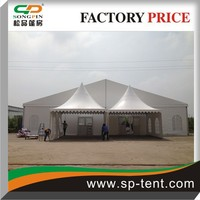 China made 10x20m clearspan marquee with 5x5m pagoda tents side by side as entrance canopies (linings&curtains inside)