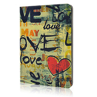 Graffiti LOVE Flip Leather Case For iPad mini 2 with Retina New Fashion Smart Stand Cover