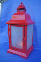 Red Metal Christmas Tea Light Lantern Xmas Decoration Candle