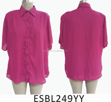 turn-down casual red collar shirt for ladies top with short seelves