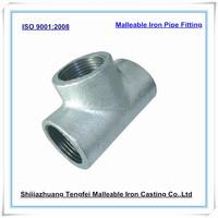 Plain Malleable Iron Tees , GI plain malleable Tee / Galvanized malleable iron pipe fitting