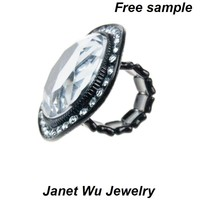 Free Sample Express Shipping 2015 New Fashion Punk Large Stretch Metal Women Jewelrys One Size Fit All Ring