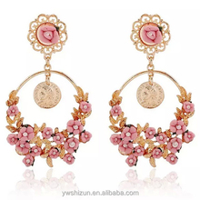 fashion jewelry made in china 2015 jewelry enamel pressed flower shaped earrings