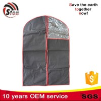 Eco dust free travel men pvc garment suit cover packaging bag with window