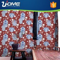 Uhome Blu-and-white porcelain/ Elegant Praise Style 3D Design Wallpaper/wall paper for Home