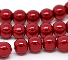 Red Round Glass Pearl 6mm Beads 32""