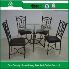 Hot sale clear tempered glass top dining table,metal dining table set