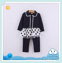 2015 Autumn kids clothes set with lace dot dress design baby romper