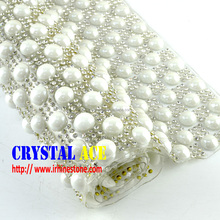White pearl with clear crystals 24 X40cm hot fix rhinestone strass adhesive sheet