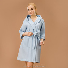 hot sale blue hooded waffle sleepwear for hot sex women and animals robes contain soft cotton materials