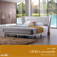 N0801#comfort king size wood double bed design furniture