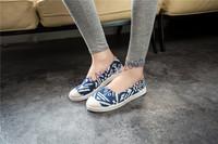 Новый корейский стиль низких геометрических полосатый Холст обувь женщин педали плоской удобной повседневной обуви ВЧ-0646