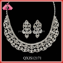 Wedding diamond necklace and earring sets wholesale african costume jewelry set (QXJS12171)