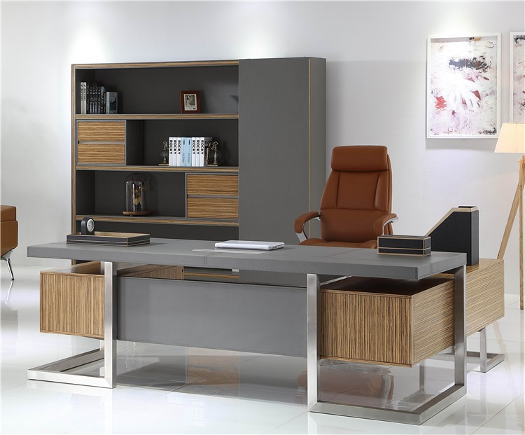 Luxe kantoor tafel executive ceo houten bureau bureau w rvs
