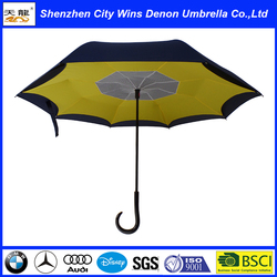 High quality promotion custom size double ribs and two layers fabric inverted umbrella/reverse umbrella with net inside