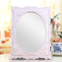 polyresin wall mirror decorative with triangular stand European style 1.85kg 42cm x 32cm large wall mirror white color BY001