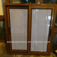 Aluminum 70 series sliding window with blinds