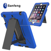 Top sale in Amazon hybrid rugged silicon back cover for ipad mini 3 heavy duty case / TV stand tablet cover for ipad mini 3