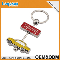2015 promotional gifts Turkey Enamel car shaped keychain Metal key chains
