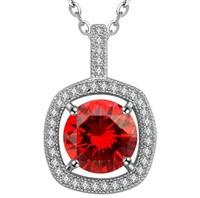 Trending Hot Products 2015 Wholesale Elegant Women Accessories Round Red Zircon Necklace