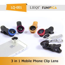 Cheap mobile phone 0.67x wide angle+macro+fish eye 3 in 1 contact lens for nikon/ip/table PC girls LQ-001B optical lens