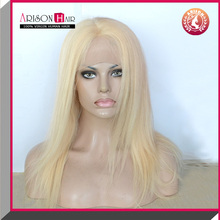 Wholesale cheap brazilian virgin human hair blond color full lace wig with baby hair