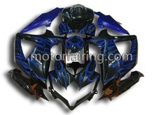 Motorcycles For Suzuki GSXR600 750 08-09 K8 Fairings Body Kit ABS Plastic Injection Moulding Black&Blue Flames